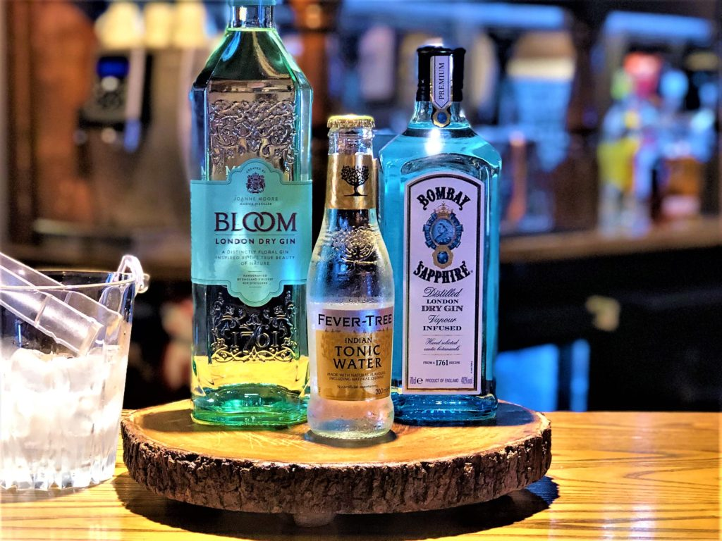gin bar bombay sapphire bloom fever tree tonics at Builders Arms pub New Barnet